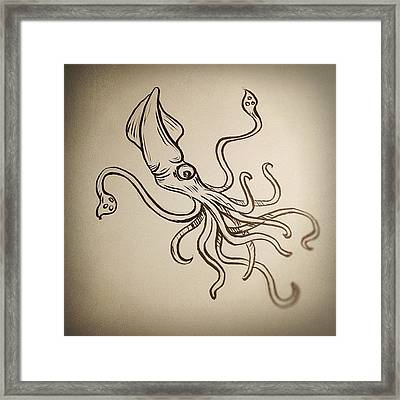 #squid #sketch Framed Print