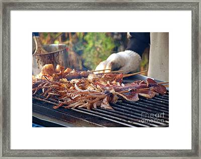 Squid Skewers Barbecue Framed Print by Yali Shi