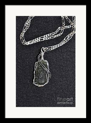Silver Wrapped Volcanic Glass Pendant Framed Prints