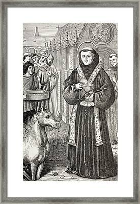 St. Anthony Of Padua, Anxious Framed Print by Ken Welsh
