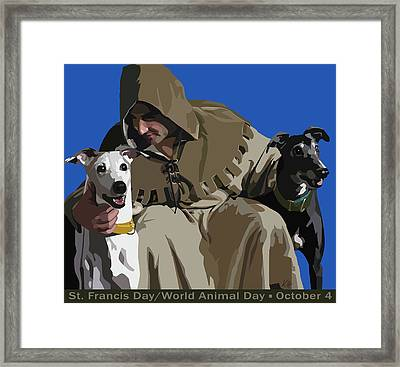St. Francis With Two Greyhounds Framed Print by Kris Hackleman