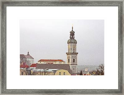 St. George In Snow - Freising Bavaria Germany Framed Print