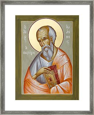 St John The Theologian Framed Print by Julia Bridget Hayes