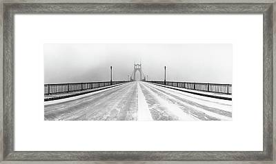 St. Johns Bridge In Snow Framed Print by Zeb Andrews
