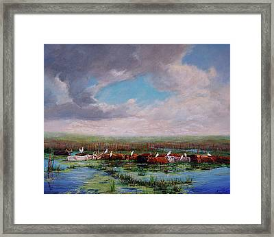 Framed Print featuring the painting St. John's Cows I by AnnaJo Vahle