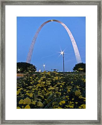 Framed Print featuring the photograph St Louis Arch With Twinkles by Nancy De Flon