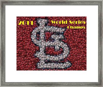 St. Louis Cardinals World Series Bottle Cap Mosaic Framed Print