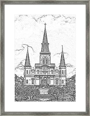 St Louis Cathedral Above Jackson Square New Orleans Black And White Photocopy Digital Art Framed Print by Shawn O'Brien