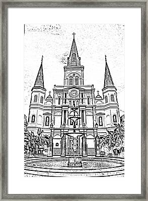 St Louis Cathedral And Fountain Jackson Square French Quarter New Orleans Photocopy Digital Art Framed Print by Shawn O'Brien