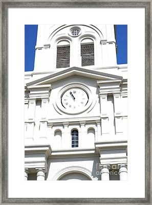 St Louis Cathedral Clock Jackson Square French Quarter New Orleans Diffuse Glow Digital Art Framed Print by Shawn O'Brien