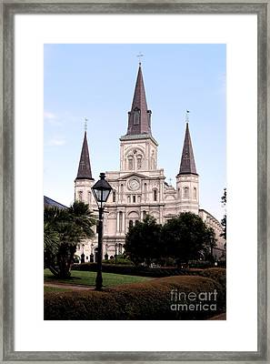 St Louis Cathedral Jackson Square French Quarter New Orleans Ink Outlines Digital Art  Framed Print