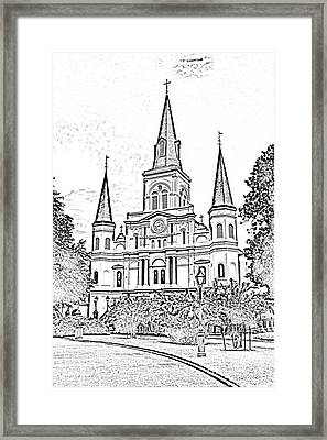 St Louis Cathedral Jackson Square French Quarter New Orleans Photocopy Digital Framed Print by Shawn O'Brien