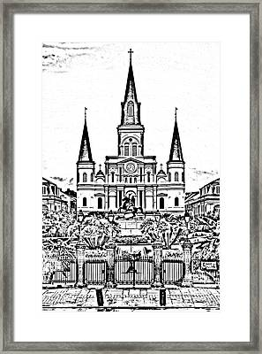 St Louis Cathedral On Jackson Square In The French Quarter New Orleans Photocopy Digital Art Framed Print by Shawn O'Brien