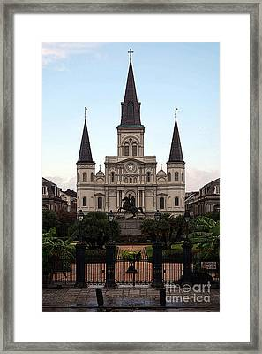 St Louis Cathedral On Jackson Square In The French Quarter New Orleans Poster Edges Digital Art Framed Print by Shawn O'Brien