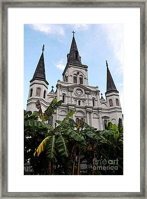 St Louis Cathedral Rising Above Palms Jackson Square New Orleans Fresco Digital Art Framed Print by Shawn O'Brien
