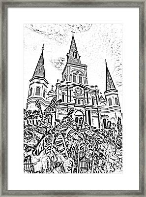 St Louis Cathedral Rising Above Palms Jackson Square New Orleans Photocopy Digital Art Framed Print by Shawn O'Brien