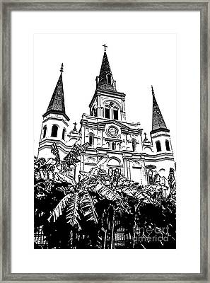 St Louis Cathedral Rising Above Palms Jackson Square New Orleans Stamp Digital Art Framed Print by Shawn O'Brien