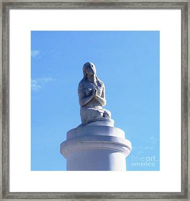 Framed Print featuring the photograph St. Louis Cemetery Statue 1 by Alys Caviness-Gober