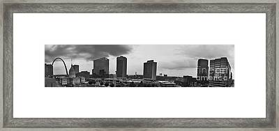 St Louis Downtown Panorama In Black And White Framed Print by Tim Mulina