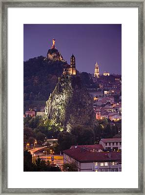 St-michel D'aiguilhe And Cathedrale Notre-dame Framed Print by Walter Bibikow