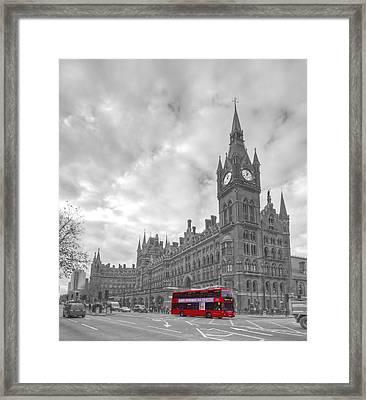 St Pancras Station Bw Framed Print