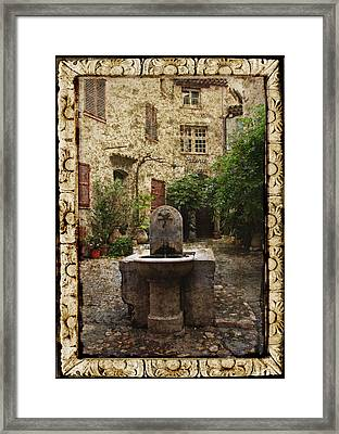 St. Paul De Vence Fountain Textured Version Framed Print by Carla Parris