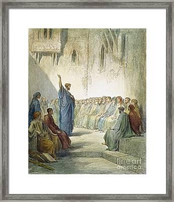St. Paul Preaching Framed Print by Granger