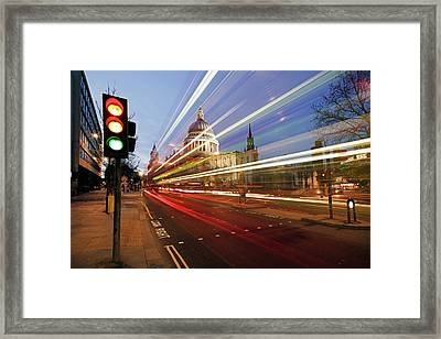 St Paul's Cathedral At Night Framed Print by Ray Wise