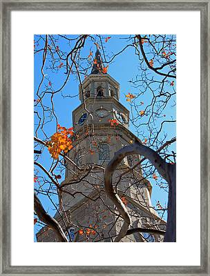 St. Philips Church Steeple - Charleston Sc Framed Print by Suzanne Gaff