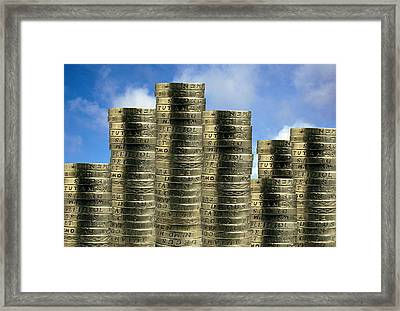 Stable Economy, Conceptual Image Framed Print by Victor De Schwanberg