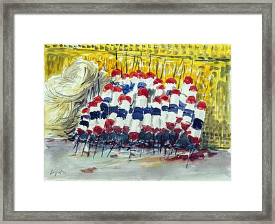 Stacked Lobster Bouys Framed Print by Chris Coyne