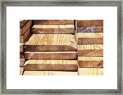 Stacked Wooden Planks Framed Print by Skip Nall