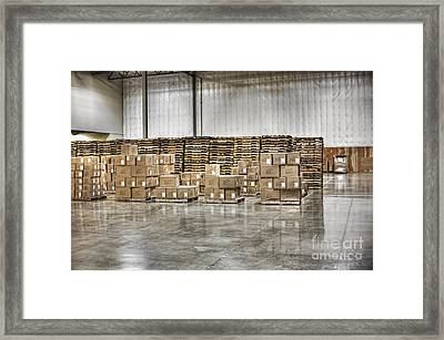 Stacks Of Boxes And Pallets Framed Print by Jetta Productions, Inc