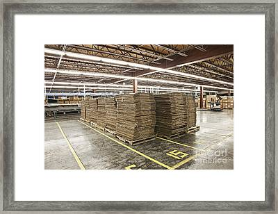 Stacks Of Boxes On Pallets Framed Print by Jetta Productions, Inc