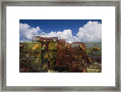 Stacks Of Crab Pots With Floats Sitting Framed Print