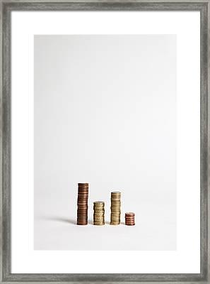 Stacks Of Various European Union Coins Framed Print by Halfdark