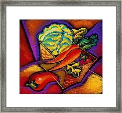 Staff For Yummy Salad Framed Print by Leon Zernitsky
