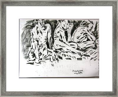 Framed Print featuring the drawing Stages Of Waiting by Brian Sereda