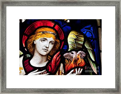 Framed Print featuring the photograph Stained Glass Angel by Verena Matthew