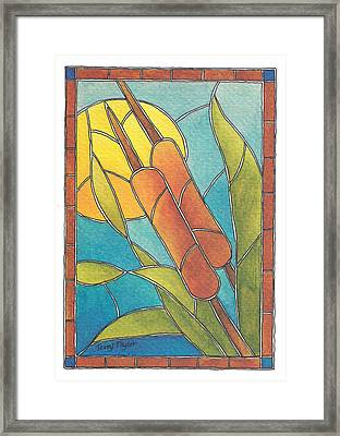 Stained Glass Cattails Framed Print