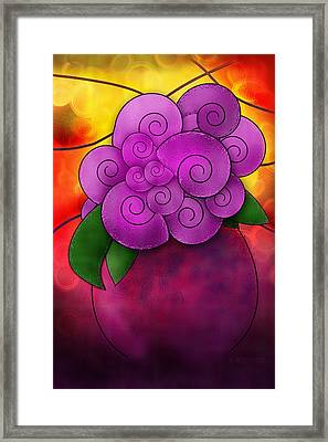 Stained Glass Florals Framed Print by Melisa Meyers