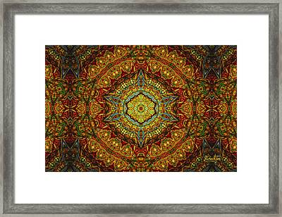 Stained Glass Gas Ring Mandala Framed Print