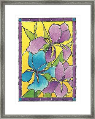Stained Glass Iris Framed Print