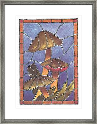 Stained Glass Mushrooms Framed Print