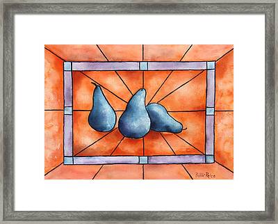 Stained Glass Pears Framed Print by Bobbi Price
