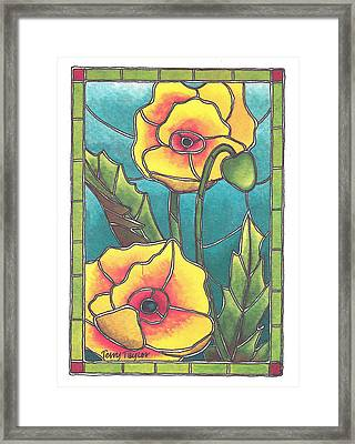 Stained Glass Poppies Framed Print