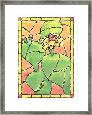 Stained Glass Prickly Pear Framed Print