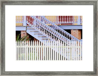 Stairs And White Picket Fence Framed Print by Jeremy Woodhouse