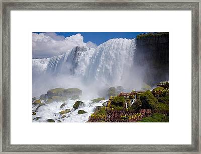 Stairs And Yellow Raincoats Near American Falls Framed Print by Kiril Strax