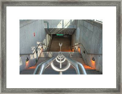 Stairs To Train Tunnel Framed Print